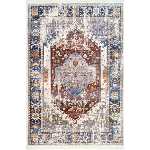 Gracewood Hollow Lone Fight Rust Floral Medallion Fringe Area Rug