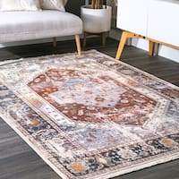 Gracewood Hollow LoneFight Floral Medallion Fringe Rust Rug - 8' x 10'