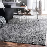 nuLoom Transitional Dark Grey Abstract Diamond Mosaic Frames Rug (7'6 x 9'6)