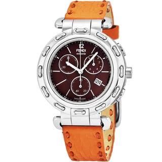 Fendi Women's F89032H.SSN09S 'Selleria' Brown Dial Orange Leather Strap Chronograph Swiss Quartz Watch|https://ak1.ostkcdn.com/images/products/17695335/P23902311.jpg?impolicy=medium
