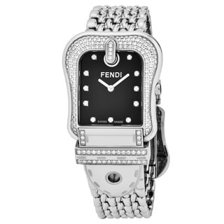 Fendi Women's F386110PC1 'B. Fendi' Black Diamond Dial Stainless Steel Swiss Quartz Watch