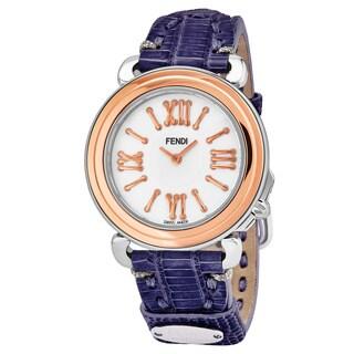 Fendi Women's F8012345H0.TS03 'Selleria' Mother of Pearl Dial Purple Leather Strap Swiss Quartz Watch