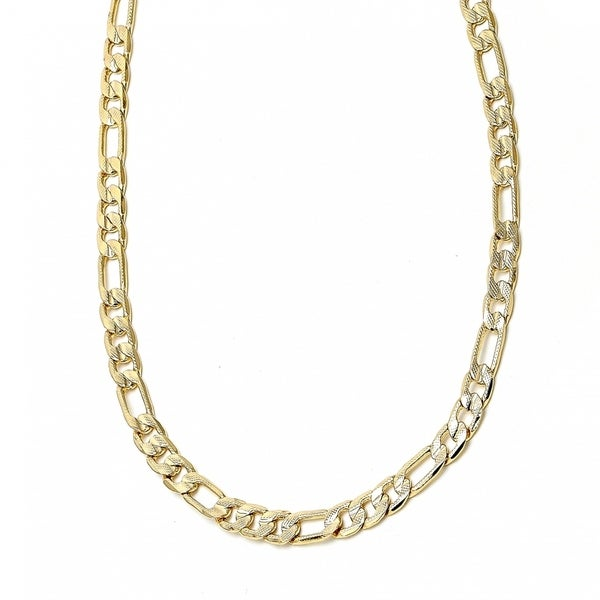 "Classic Necklace Pave Figaro Design Diamond Cutting Finish Gold Tone 160 Gauge 7 MM 30"" 18kt. Plated"