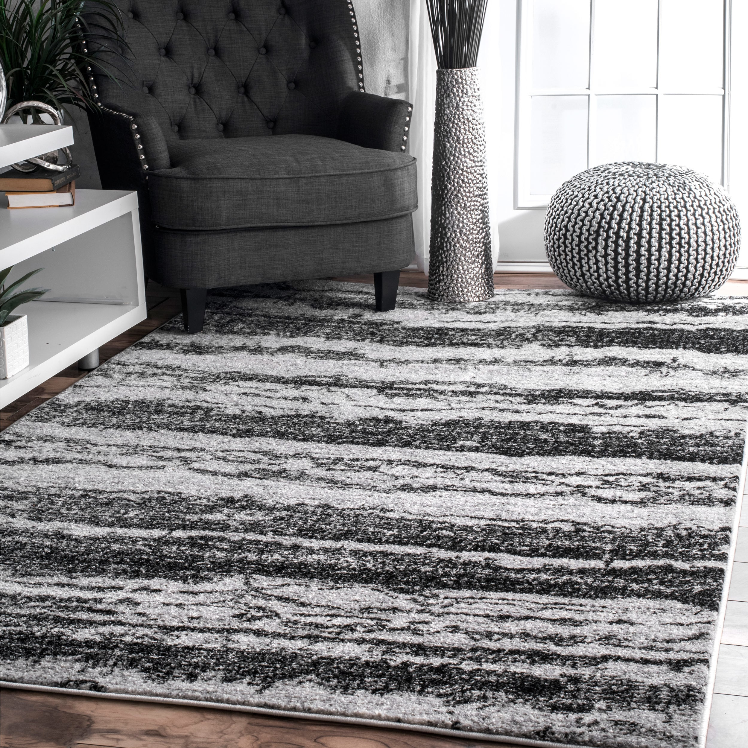 striped lavish breton black area and amazon stripe home kitchen rug dining white com by dp