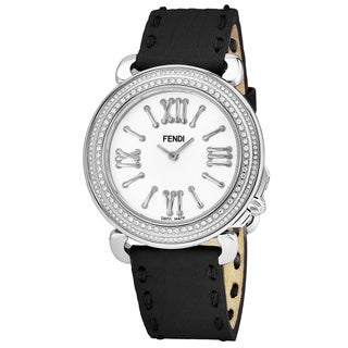 Fendi Women's F8010345H0P0.SN 'Selleria' Mother of Pearl Dial Black Leather Strap Diamond Swiss Quartz Watch