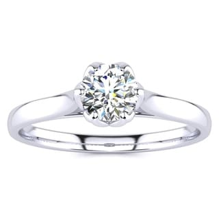 1/2ct TDW Diamond Solitaire Engagement Ring In 14 Karat White Gold (I-J, I1-I2) - White I-J