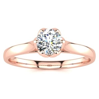 1/2ct TDW Diamond Solitaire Engagement Ring In 14 Karat Rose Gold (I-J, I1-I2) - White I-J