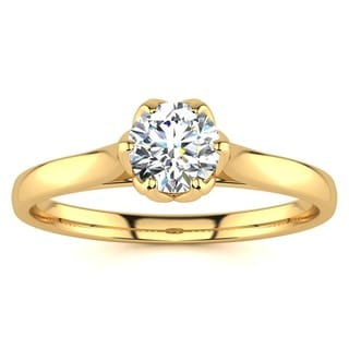 1/2ct TDW Diamond Solitaire Engagement Ring In 14 Karat Yellow Gold (I-J, I1-I2) - White I-J