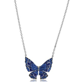 Fremada Sterling Silver Spinel Blue Butterfly Necklace (18 inches)