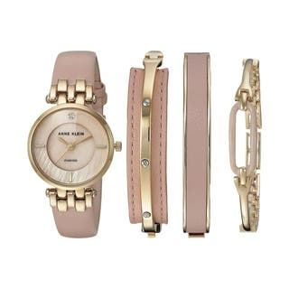 Anne Klein Leather Watch and Bangle Set Ladies Watch AK-2684LPST|https://ak1.ostkcdn.com/images/products/17695794/P23902453.jpg?impolicy=medium