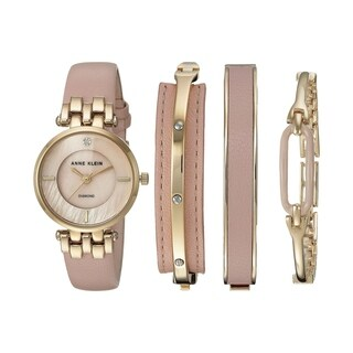 Anne Klein Leather Watch and Bangle Set Ladies Watch AK-2684LPST