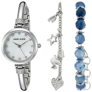 Anne Klein Beaded Bracelet Set And Silver-Tone Alloy Ladies Watch AK-2841BAGT