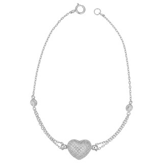 Fremada Sterling Silver Cubic Zirconia Heart Bracelet (7.25 inches)