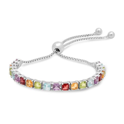Marabela Sterling silver multi princess-cut gemstone adjustable bracelet.