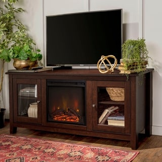 Brown Wood 58-inch Media TV Stand Console with Fireplace