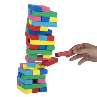 Hey! Play! Classic Wooden Blocks Stacking Game with Colored Wood and Carrying Bag