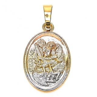 Religious Pendant Angel Design Diamond Cutting Finish Tri Tone 18kt.Plated 93470