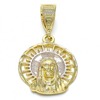 Religious Pendant Jesus Design Diamond Cutting Finish Tri Tone 18kt.Plated 28140