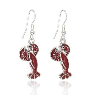 BeSheek Jewelry Hand Painted Red Maine Lobster Fashion Earrings - hook