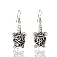 BeSheek Jewelry Silvertone Tribal Spoon Sea Turtle Fashion Earrings - hook