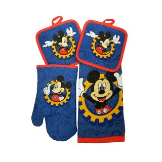 Disney Junior Mickey Mouse Clubhouse 4pc Kitchen Set - Kitchen Towel, Oven Mitt & 2 Pot Holders