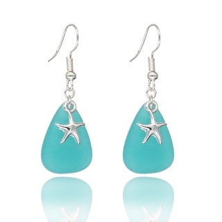 BeSheek Jewelry Handmade Sea Glass Teardrop Ocean Starfish Charm Fashion Earrings