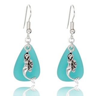 BeSheek Jewelry Handmade Sea Glass Teardrop Ocean Mermaid Charm Fashion Earrings