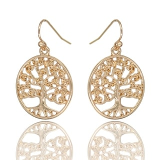 BeSheek Jewelry Goldtone Tree of Life Fashion Earrings - hook