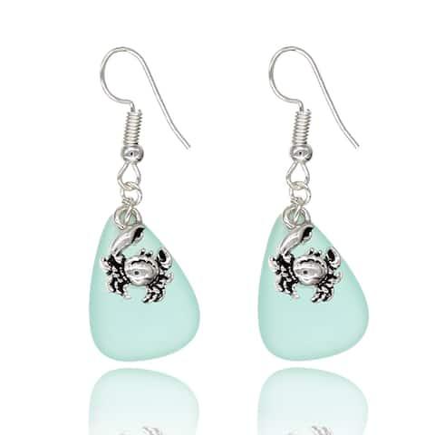 BeSheek Jewelry Handmade Sea Glass Teardrop Ocean Crab Charm Fashion Earrings