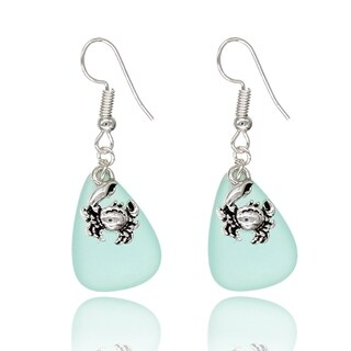 BeSheek Jewelry Handmade Sea Glass Teardrop Ocean Crab Charm Fashion Earrings
