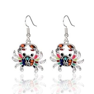 BeSheek Jewelry Rainbow Mosaic Ocean Crab Fashion Earrings - hook