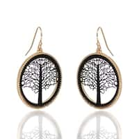 BeSheek Jewelry Goldtone and Black Tree of Life Fashion Earrings - hook