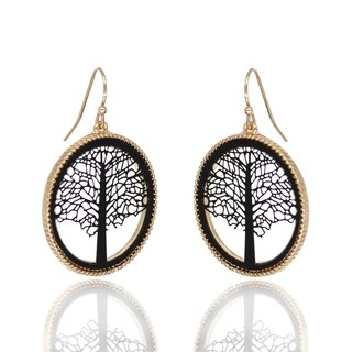 BeSheek Jewelry Goldtone and Black Tree of Life Fashion Earrings - hook