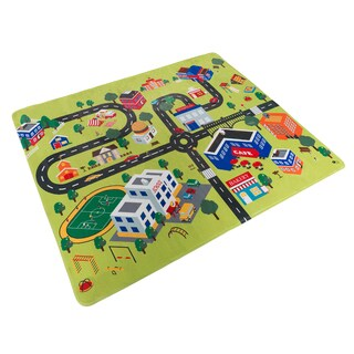 Hey! Play! Baby Play Mat for Kids, Microfiber Flannel Fleece & Foam Mat with Non Slip Back and City Scene