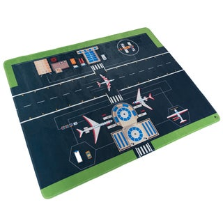 Hey! Play! Baby Play Mat for Kids, Microfiber Flannel Fleece & Foam Mat with Non Slip Back and Airport Scene