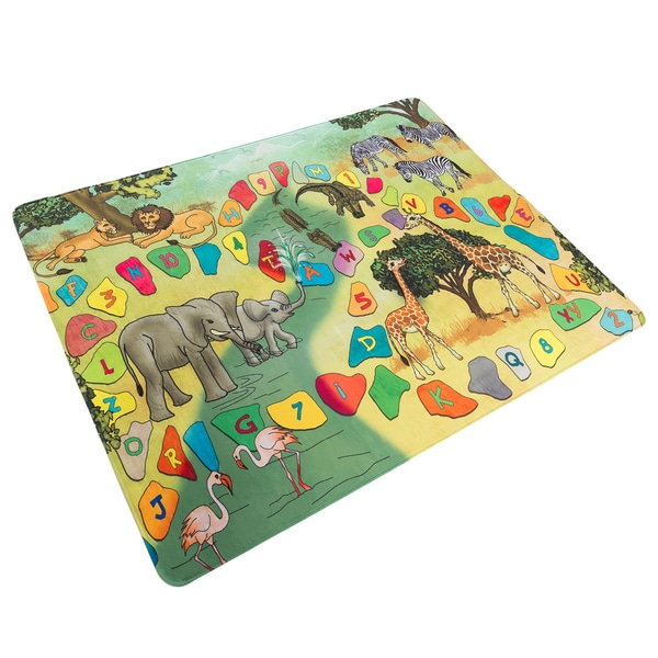 Hey! Play! Baby Play Mat for Kids, Microfiber Flannel Fleece & Foam Mat NonSlip Back Safari Animals, Letters & Numbers