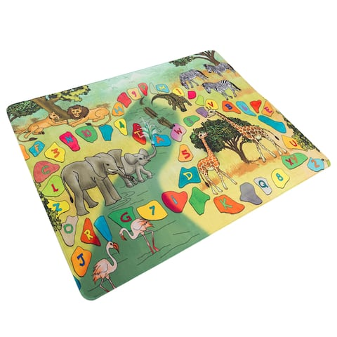Hey! Play! Baby Play Mat for Kids, Microfiber Flannel Fleece & Foam Mat NonSlip Back Safari Animals, Letters & Numbers