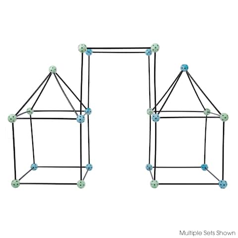 Hey! Play! Construction Fort Building Toy Set for Kids with 60 Pieces