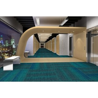 "Mohawk Rumney 12"" x 36"" Carpet tile plank in PEACOCK"