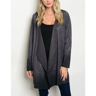 JED Women's Vegan Suede Charcoal Cardigan Jacket