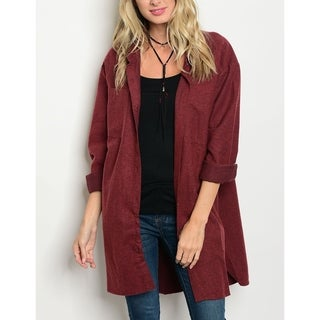 JED Women's Relax Fit Cotton Button Down Cardigan Overshirt