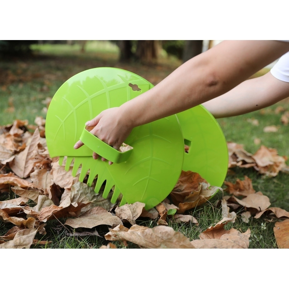 Basicwise Pair of Leaf Scoops, Hand Rakes for Lawn and Ga...