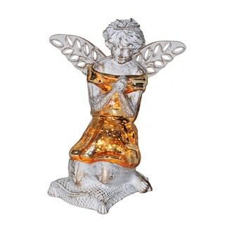 "8.5""H Praying Angel Accent Lamp - Gold/White Patina"