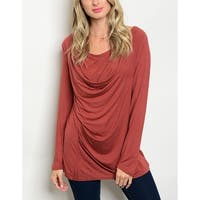 JED Women's Drapey Soft Knit Stretchy Long Sleeve Top