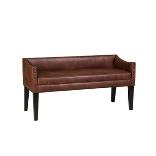 Whitney Long Upholstered Bench with Arms and Nailhead Trim