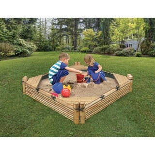 Beach Sandbox with Liner and Cover - Natural