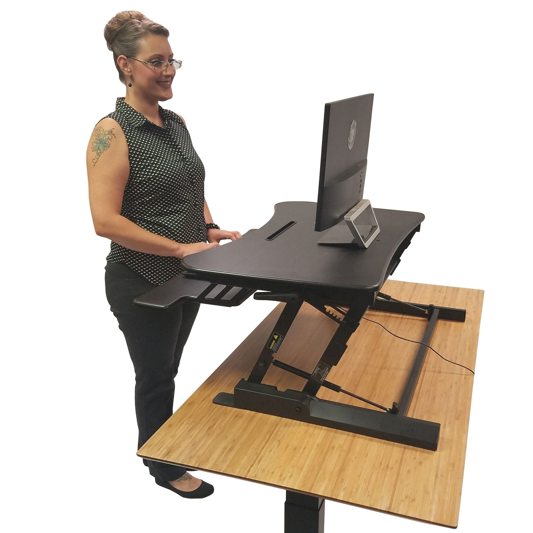 Picture of: Boonliving Adjustable Desk Sit And Stand Computer Riser For Home And Office Use Ergonomic Workstation With Keyboard Tray On Sale Overstock 17696635