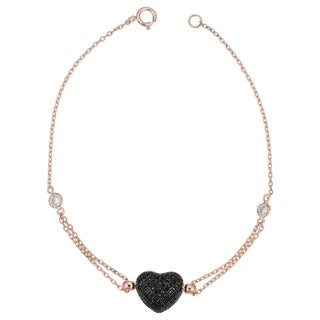 Fremada Sterling Silver Black Spinel Heart Bracelet (7.25 inches)