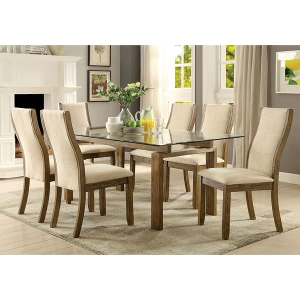 Furniture of America Lenea Contemporary Padded Oak Dining Chair (Set of 2)  - 19\