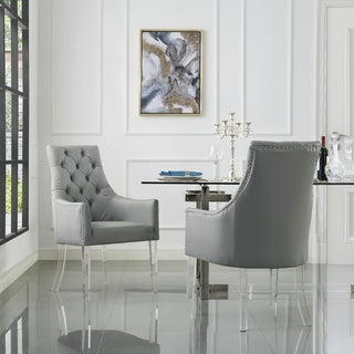 Inspired Home Judy Acrylic Leg Dining Arm Chair Set of 2